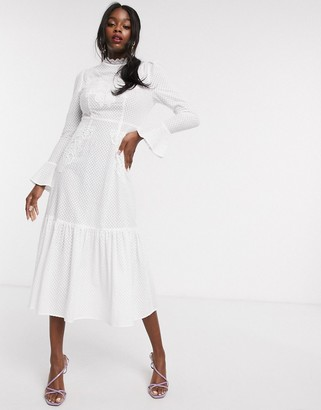 NEVER FULLY DRESSED embroidered long sleeve fluted hem maxi dress in white