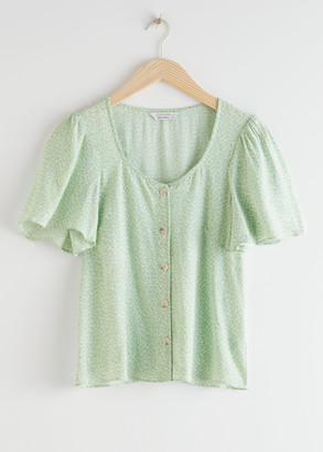 And other stories Buttoned Flutter Sleeve Top