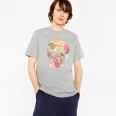 Paul Smith Men's Grey 'Floral Skull' Print Organic-Cotton T-Shirt