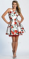 Dave and Johnny Rose Print Pleated Fit and Flare Cocktail Dress