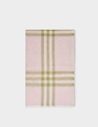 Burberry Giant Check Gauze Scarf in Pink Alabaster Wool and Silk