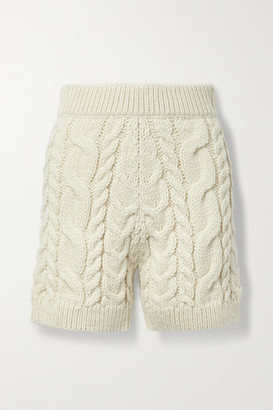 Mr. Mittens Cable-knit Wool Shorts - Cream
