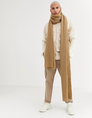 ASOS DESIGN xxxl knitted scarf in camel