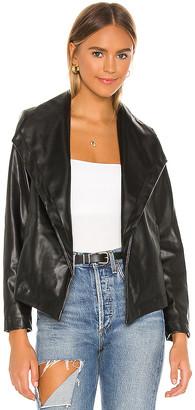 Chaser Matte Vegan Leather Drape Front Jacket