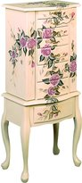 Coaster Home Furnishings Jewelry Armoire, Ivory Finish Wood with Hand Painted Roses Floral