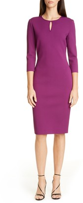 St. John Luxe Sculpture Knit Sheath Dress