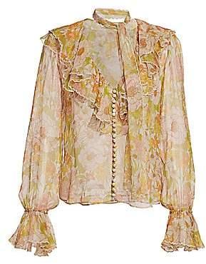 Zimmermann Women's Super 8 Floral Silk Ruffle Tieneck Puff-Sleeve Blouse