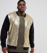 Asos PLUS Gold Sequin Bomber Jacket