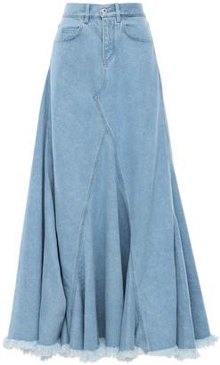 Marques Almeida Cotton Denim Flared Maxi Skirt