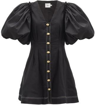 Aje Quietude Puff-sleeved Linen Mini Dress - Black