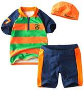 Dudubaby Baby Boys Sun Protection Swimwear 3-pieces Boys Swimsuit Sets (4T, )