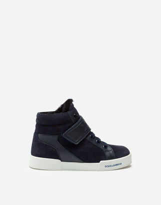Dolce & Gabbana Portofino Light High-Top Sneakers In Split-Grain Leather