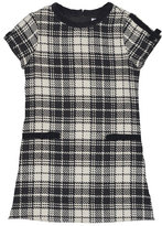 Florence Eiseman Cap-Sleeve Plaid Velvet-Trim Shift Dress, Black/White, Size 4-6X
