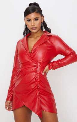 PrettyLittleThing Red Faux Leather Long Sleeve Button Up Detail Bodycon Dress