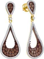 JawaFashion 10kt Yellow Gold Womens Round Cognac- Colored Diamond Teardrop Dangle Earrings 1.00 Cttw