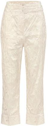 Simone Rocha Lace-taffeta high-rise pants