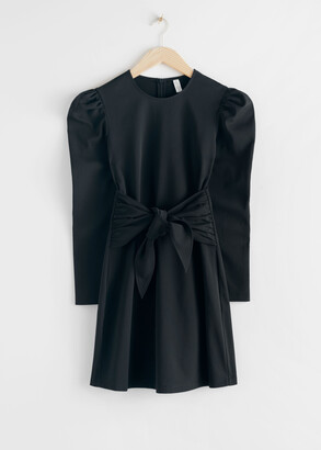 And other stories Puff Sleeve Knot Tie Mini Dress