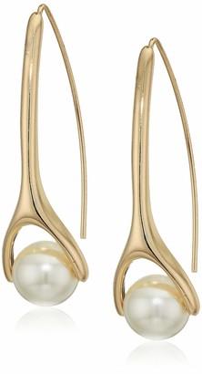 Anne Klein Blanc Pearl Gold Tone Threader Drop Earrings