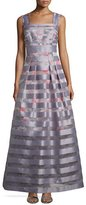 Kay Unger New York Striped Jacquard A-Line Gown, Platinum