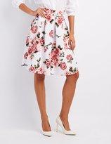 Charlotte Russe Floral Pleated Midi Skirt