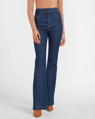 Express Super High Waisted Belted Flare Jeans