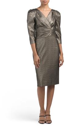 Long Sleeve Stretch Lame Dress