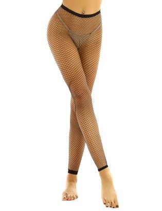 iiniim Women Stretchy Elastic High Waisted Tights Fishnet Net Footless Ankle Length Leggings Black#2 One Size