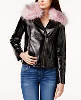 GUESS Faux-Fur-Trim Moto Jacket