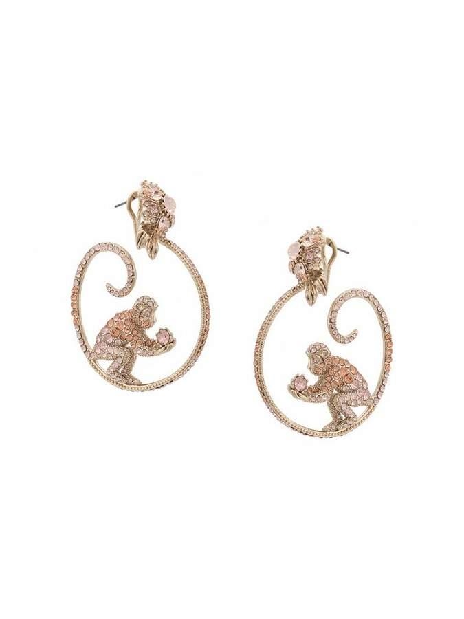 Marchesa gemstone encrusted monkey hoop earrings
