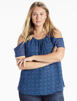 Lucky Brand Geo Cold Shoulder Top
