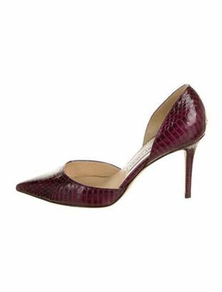 Jimmy Choo Snakeskin Animal Print Sandals Purple