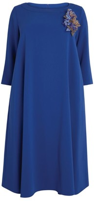 Marina Rinaldi A-Line Midi Dress With Embellished Brooch