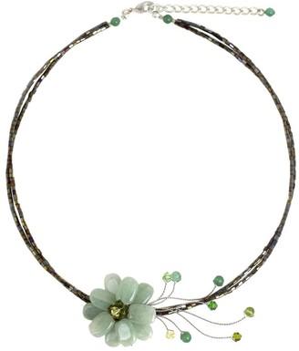 Novica Handmade Verdant Chic Aqua Quartzite Gemstone Flower on Multicolor Beaded Wire Adjustable Womens Fashion Chok