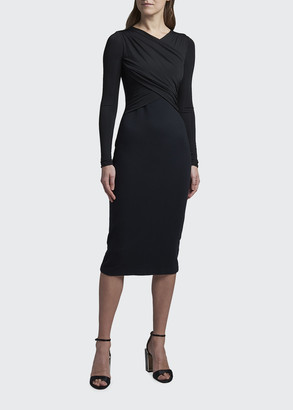 Giorgio Armani Matte Jersey Cross-Front Dress