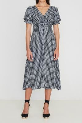 Faithfull The Brand Amber Check Midi Dress - Assorted XS at Urban Outfitters