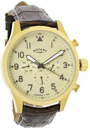 Rotary Mens Chronograph Quartz Watch with Leather Strap GS00419/31