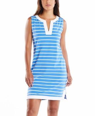 Nautica Women's Breton Stripes Sleeveless V-Neck Stretch Cotton Polo Dress Casual