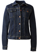 Lands' End Women's Plus Size Denim Jean Jacket-Navy Leaves