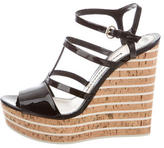 Gucci Patent Leather Wedge Sandals