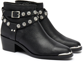 Senso Xyler I Black Grained Calf Silver Cowboy Studded Ankle Boot