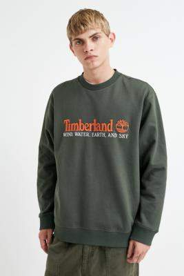 Timberland UO Exclusive Wind, Water, Earth and Sky Green Crew Neck Sweatshirt - green S at Urban Outfitters