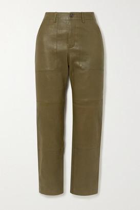 Sprwmn Leather Straight-leg Pants - Army green