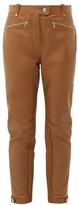 Burberry Petertown Panelled Leather Biker Trousers - Womens - Brown
