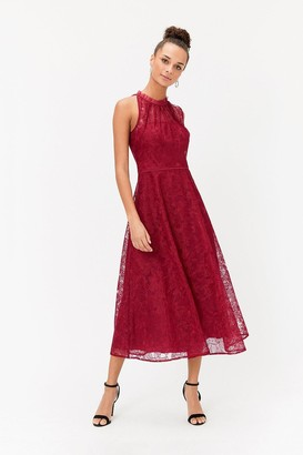 Coast Embroidered High Neck Mesh Midi Dress