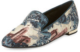 Burberry Mormont Castle-Print Fabric Loafer, Airforce Blue