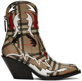 Burberry Beige Check Matlock Boots