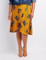 Charlotte Russe Plus Size Floral Midi Wrap Skirt
