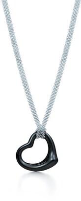 Tiffany & Co. Elsa Peretti Open Heart pendant of black jade and sterling silver