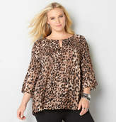 Avenue Animal Print Pleated Babydoll Top