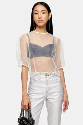 Topshop Womens Ivory Organza Cocoon Top - Ivory